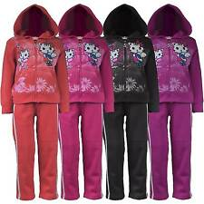 Girls Kitty Print Tracksuit Kids Jogging Bottom Zip Top 2 Piece Suit