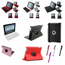 360 Rotating Wireless Bluetooth Keyboard Leather Case for iPad 2/3/4 Stylus Pen