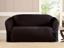 2 PC MICRO-SUEDE FURNITURE SLIPCOVER SOFA & LOVESEAT COUCH COVERS, OLIVE BROWN