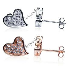 Luxury Popular Heart Design Sterling Silver Earring Micro Pave CZ W/ Plated