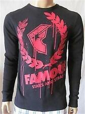 New FAMOUS STARS & STRAPS Mens Black L/S Crew Breakdown Thermal Tee Shirt $29