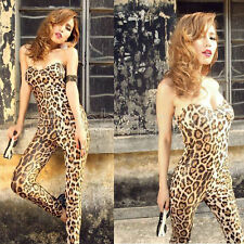 Sexy Women/Lady Backless Leopard Print Catsuit Jumpsuit Evening Clubwear Rompers