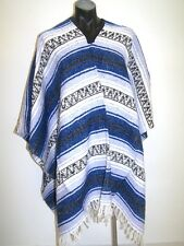 Genuine Mexican poncho western style blue Falsa blanket costume party