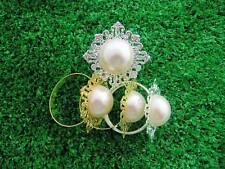 50 100pcs Fauxl Pearl Napkin Rings Holder Wedding Decoration Party Silver & Gold