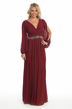 New Long Mother of Bride Groom Gown Formal Empire Waist Plus Size Bunched Dress
