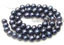 """SALE 7-8mm Natural High quality Black Freshwater Pearl Loose Beads 14""""-los383"""