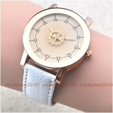 NEW Flywheel Gear Second Hand Leather Women Lady Girl Quartz Fashion Wrist Watch