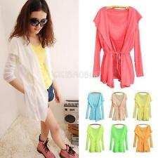 #gib Candy Color Lady Rash Guards Hoodie Tunic Opening Blouse Top Anti UV