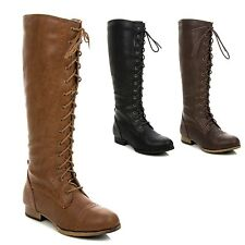 New Wild Diva Women's Knee High Fashion Military Combat Lace Up Boot TOSCA-81