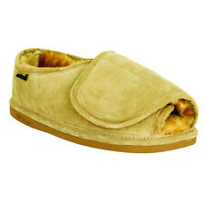 Old Friend Footwear Mens Step-In Sheepskin Slipper with Adjustable Closure