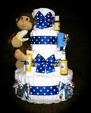 Our Lil' Monkey 4 Tier Diaper Cake for Baby Boy or Girl by Little KG's Dreams
