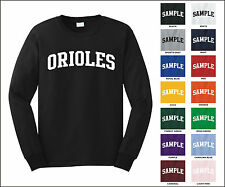 Orioles College Letter Team Name Long Sleeve Jersey T-shirt