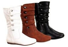 Girl Leather PU Boot Slouchy Buttons (bank77) Youth