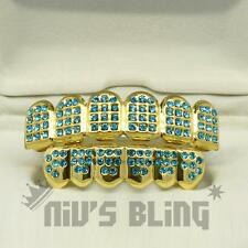 Iced Out 14k Gold GRILLZ TEAL CZ Blue Aqua Tooth Mouth Teeth Caps Hip Hop Grills