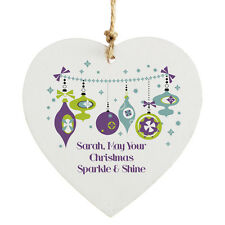 Personalised New Christmas Tree Bauble Hanging Wooden Heart Sign Decoration Gift