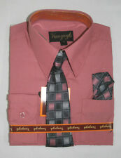 BOYS HOT PINK DRESS SHIRT WITH MATCHING TIE LONG SLEEVE Sizes 4 - 20