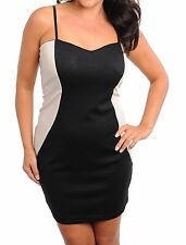 WOMENS PLUS SIZE CLOTHING BLACK AND BEIGE PARTY DRESS