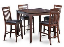 5PC SET SQUARE COUNTER HEIGHT DINING TABLE AND 4 LEATHER CHAIR - STOOL MAHOGANY