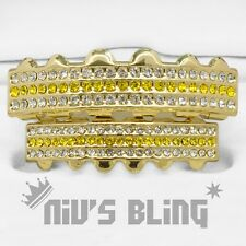 Iced Out 14k Gold GRILLZ Yellow Stripe CZ Bling Mouth Teeth Caps Hip Hop Grills