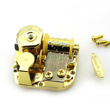 Many Tunes! 18 Note Gold Metal Windup DIY Movement + Screws + Key for Music Box