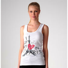 Just Add Sugar Womens Tank Love Paris Top Grey White Cool Summer Tee RRP $34.95