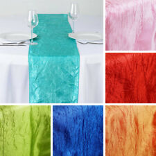 "25 TAFETTA CRINKLE 12x108"" Table RUNNERS Wholesale Wedding Party LINENS SALE"