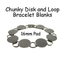 Disk Loop Chain Bracelet Blank Chunky with 16mm Glueable Pads - Free Shipping