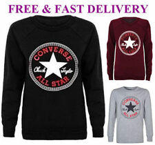 NEW WOMEN CONVERSE ALL STAR GRAPHIC PRINTED JUMPER LADIES SWEATSHIRT FASHION TOP