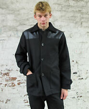 Mens Black Donkey Jacket Wool Coat Vintage MOD Skinhead Faux Leather Overcoat