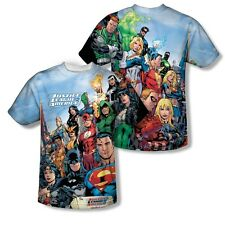 Justice League of America Heroes Characters 2-Sided Print Poly Shirt S-3XL