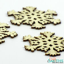 "3x Wooden ""Icy Blast"" Birch Wood Laser-Cut Snowflake Christmas Tree Ornaments"