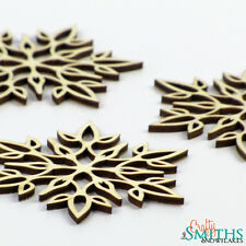 "3x Wooden ""Delicate Flower"" Wood Laser-Cut Snowflake Christmas Tree Ornaments"