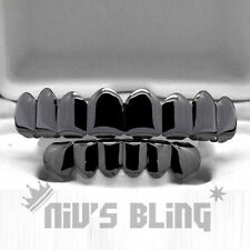 Gunmetal Custom 8 Tooth Top Bottom GRILLZ Bling Mouth Teeth Caps HipHop Grill 1M
