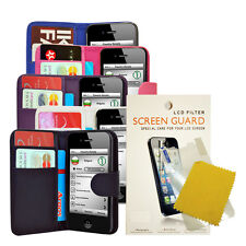 FOR IPHONE 4 4S NEW PHONE PU LEATHER WALLET FLIP CASE COVER + Screen Protector