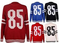 Womens 85 Print Baseball Long Sleeve Ladies Knitted Jumper Stretch Sweater Top
