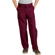 DICKIES BOYS BURGUNDY SCHOOL PANTS FLAT FRONT 56562 Sizes 4 to 20