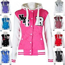 New Womens R-FOX Varsity College baseball jacket Hoodie Hooded Size M L XL 8 14