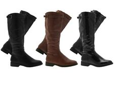 WOMENS STRAPPY RIDING BOOTS KNEE HIGH FAUX LEATHER LADIES BLACK TAN SIZE UK 3- 8