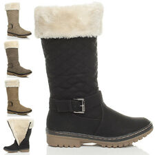 WOMENS LADIES GIRLS WINTER FUR LINING QUILTED SNOW CALF ZIP BOOTS SIZE