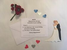 25 x A7 Wedding / Reception RSVP Cards and Envelopes inc Dietary Requirements