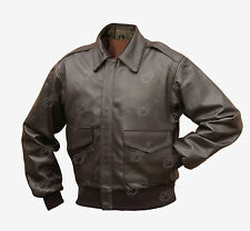 Flying Jacket Brown Leather US Pilots A2 Repro All Sizes WW2 American Airforce