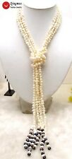 "SALE Long 45"" natural 6-7mm Baroque White Pearl & white pearl 3 Strands Necklace"
