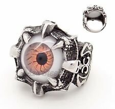 MENs Evil EYE Skull Claw Stainless Steel Ring US Size 8, 9,10,11,12, 13