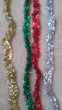 1.8M Tinsel Garland Christmas Tree Decoration Metallic Foil Green Red Silver