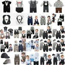 Baby Boy Wedding Suits Tuxedo Bowtie Christening Romper Bodysuit Outfit 0-24M