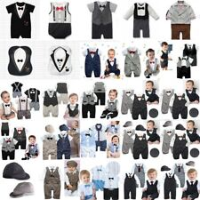 Baby Boy Wedding Suit Tuxedo Christening Formal Bodysuit Outfit Cloth 0-24M