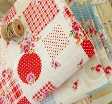 Shabby Chic Roses Dots Check Japanese Linen Cotton Fabric Red&Blue 50x46cm