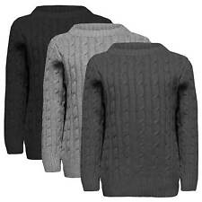 BOYS CABLE KNIT JUMPER KIDS PULLOVER TOP 1-12 YEARS