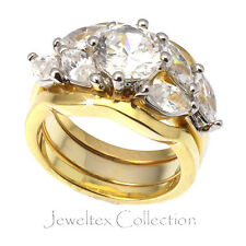 18K Gold GP Two Tone Engagement Wedding 3 Rings Set 1.25 Diamond Simulant. AJ616