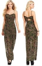 Jessica Simpson Everly Green Camouflage Maxi Dress w/Tie Back - MSRP $69